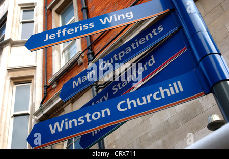 Directions sign at St Mary's Hospital London - Stock Photo