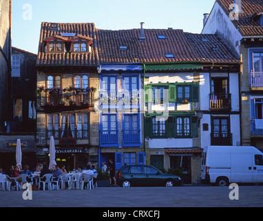 Plaza de Armas, Fishermen's Quarter, Hondarribia, Gipuzkoa Province, Pais Vasco, Spain - Stock Photo