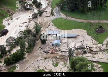aerial views of damage done by heavy rain causing landslips in Golden Bay, Nelson, New Zealand - Stock Photo