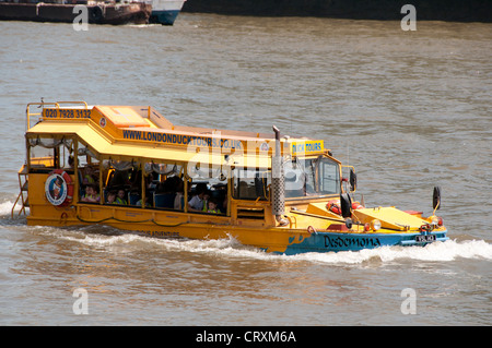 Duck Tours,London Thames River Tourist Attraction,Amphibious Vehicle seen around the city on the river and on the - Stock Photo