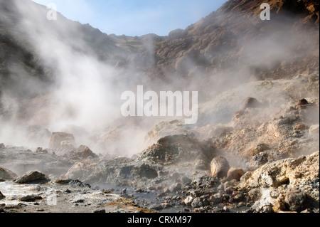 Iceland Europe Arctic Seltun thermal area Krysuvik hot springs landscape - Stock Photo