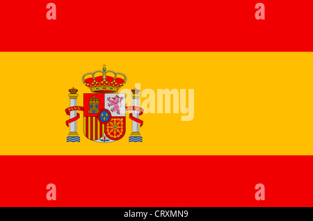 Flag of the Kingdom Spain with national coats of arms. - Stock Photo