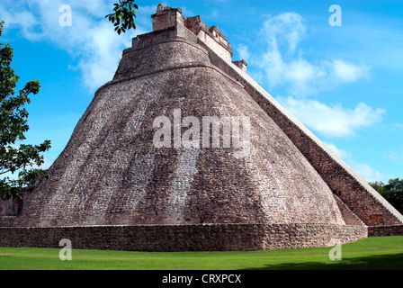 Mexico, Yucatan state, Uxmal, archaeological Mayan site, world heritage of the UNESCO, Magicians Pyramid and The - Stock Photo