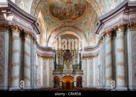 Austria, Lower Austria, Mostviertel, Herzogenburg, View of Collegiate Church with fresco painting - Stock Photo