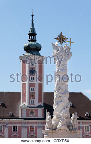 Austria, Lower Austria, Mostviertel, St. Poelten, View of trinity column at town hall - Stock Photo