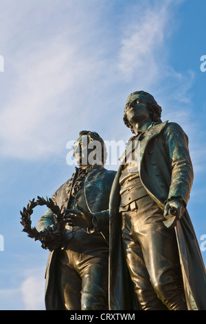 Germany, Thuringia, Weimar, View of Goethe-Schiller monument - Stock Photo