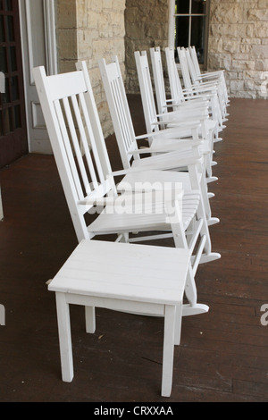 A Row Of White Rocking Chairs On A Long Porch At The Crescent Hotel In  Eureka