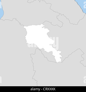 Political map of Armenia with the several provinces. - Stock Photo