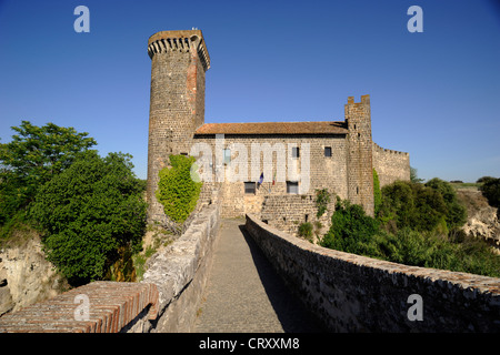 italy, lazio, vulci, archeological park, abbadia medieval bridge and castle - Stock Photo