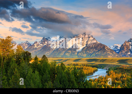 Sunrise at the Snake River Overlook at Grand Teton National Park in Wyoming, USA - Stock Photo