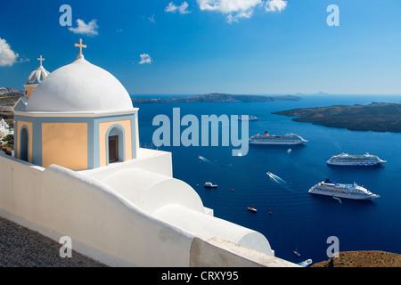 Greece, Santorini, Orthodox Church in Fira - Stock Photo