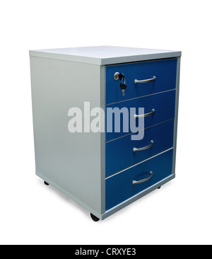 Four drawers of office filing cabinet isolated on white - Stock Photo