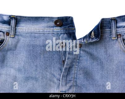 Detail of pair blue unbuttoned jeans - Stock Photo