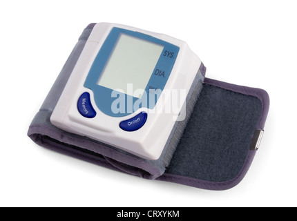 Automatic digital blood pressure monitor isolated on white - Stock Photo