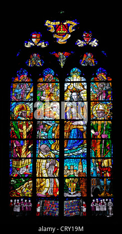Liege, Belgium. Cathedrale St Paul. Stained glass window. - Stock Photo