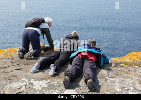 Three women looking over the edge of a seacliff to spot Puffins at Noup Head RSPB, Westray Island, Orkney Islands, - Stock Photo