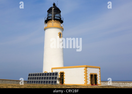 Noup Head lighthouse built by David A Stevenson 1898 now powered by solar panels on Westray Island Orkney Islands - Stock Photo