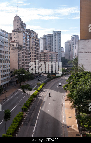 avenue July 9th near the square flag in sao paulo - Stock Photo