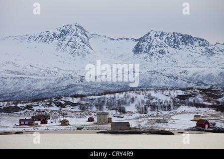 Hamlet on Kvaloya Island near Sommeroy in Arctic Circle Northern Norway - Stock Photo