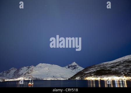 Hamlet on Kvaloya Island near Tromso in Arctic Circle Northern Norway - Stock Photo