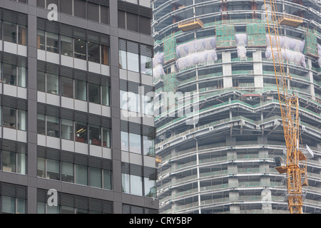 Construction work and building sites, in Pudong, in Shanghai, China - Stock Photo