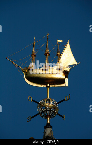 Gilt ship weather vane on the top of Liberty's on Great Marlborough Street, Soho, London, UK - Stock Photo