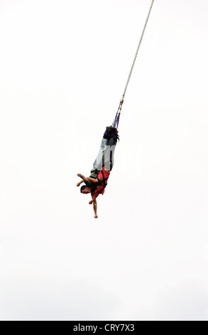 Woman and man in the joint bungee jumping, Oberhausen - Stock Photo