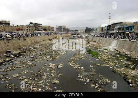 View of the polluted Kabul River - Stock Photo