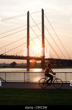 Duesseldorf, Rhine promenade, sunset - Stock Photo
