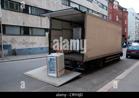 Van delivering household electrical appliances central Helsinki Finland Europe - Stock Photo