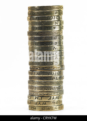 A pile of British pound coins - Stock Photo