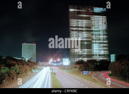New Buerohochhaeuser at night in Munich - Stock Photo