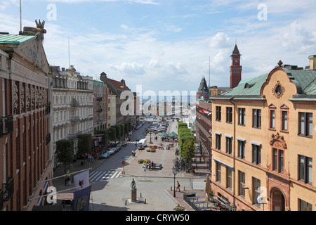 View from the castle Kärnen in Helsingborg of Stortorget and the ferry services to Elsinore in Denmark - Stock Photo