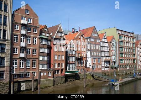 Historic half-timbered houses at Nikolaifleet in Hamburg Germany - Stock Photo