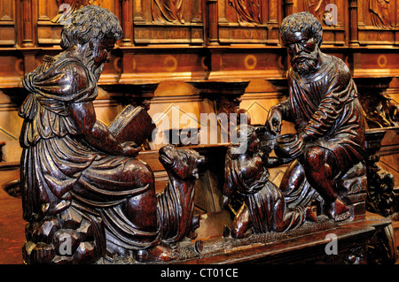 France, Midi-Pyrenees: Detail of the gothic choir in the Cathedral Notre Dame in Saint Bertrand de Comminges - Stock Photo