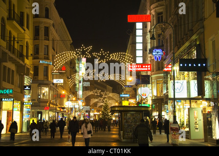 Christmas street decorations at night in Vienna, Austria - Stock Photo