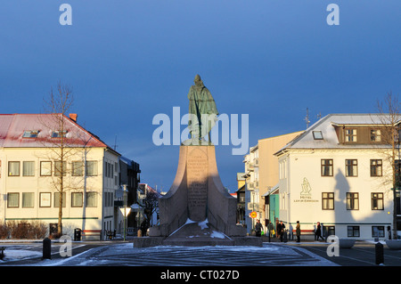 View of Leif Ericson statue in Reykjavik - Stock Photo