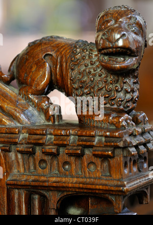 Medieval abbot's stall bench-end from Jervaulx Abbey, St Michael's Church, Aysgarth, Wensleydale, England - Stock Photo