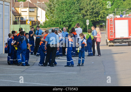Voluntary Auxiliary Fire Fighter Youth Training - Schwaigern Germany - Stock Photo