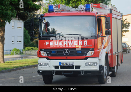 German Fire Truck Fire Engine Mercedes Benz Voluntary Auxiliary Fire Brigade - Schwaigern Heilbronn Germany - Stock Photo