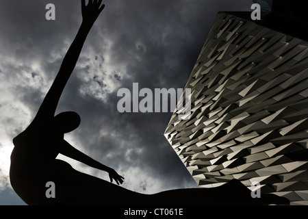 Rowan Gillespie's sculpture Titanica. Titanic Museum. Belfast. Northern Ireland. UK. Europe - Stock Photo