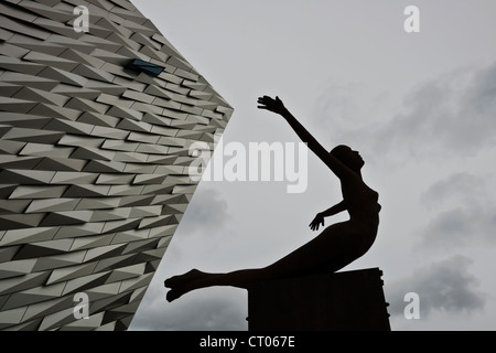Rowan Gillespie's sculpture Titanica. Titanic Museum. Belfast. Northern Ireland. UK. Europe - Stock Photo