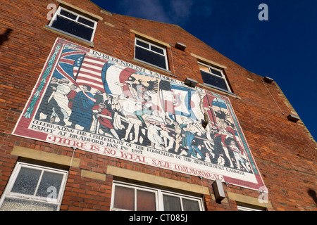 Mural in Little Germany Bradford commerating the founding of The Independant Labour Party in the city, in 1893. - Stock Photo