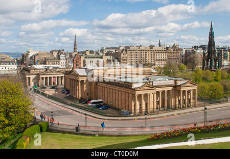 View over Edinburgh with the Scottish National Gallery in the foreground. Taken from the mound - Stock Photo
