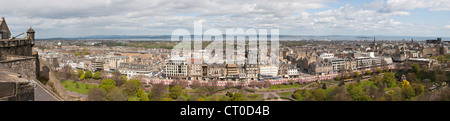 Panoramic shot over Edinburgh from the Castle - Stock Photo