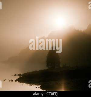 Misty Dawn on Llyn Dinas Lake in the Nantgwynant Valley Snowdonia National Park Gwynedd North Wales UK, Late Spring. - Stock Photo