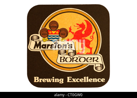 Beer Mat / drip mat - Marston's Brewery, Burton upon Trent, England featuring an advert for Border beers. - Stock Photo