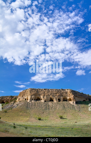 Abandoned ancient cave monastery in the David Gareja complex (The Republic of Georgia, Caucasus). - Stock Photo