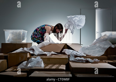 A girl unpacked from suitcase 8
