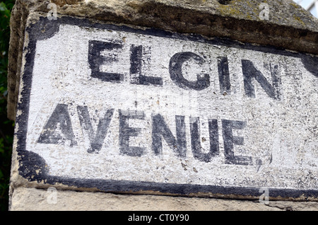 Very old Elgin Avenue street sign on a wall, Maida Vale W9, London, UK - Stock Photo
